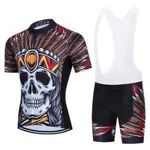 2021 SKULL Cycling Jersey Bib Sets MTB Bike Clothing Quick Dry Bicycle Wear Clothes Mens Short Maillot Culotte Suit