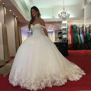 Off Shoulder Princess Lace Ball Gown Wedding Dresses 2021 with Beades Appliques Sweep Train Tulle Wedding Bridal Gowns