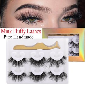 3 Pairs 100% 3D Mink Hair False Eyelashes Natural Thick Long Eye Lashes Handmade Wispy Makeup Beauty Extension Tools Dropship