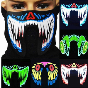 US Fashion 41 Styles EL Mask Flash LED Music Mask With Sound Active for Dancing Riding Skating Party Voice Control Mask Party Masks FY0063