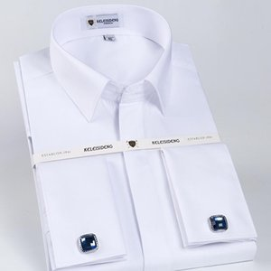 Men's Covered Buttons French Cuff Dress Shirt Designer Classic Long Sleeve Banquet Wedding White Luxury Shirts