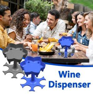 Distributeur de bière en plastique Distributeur de vin Distributeur de vin 6 coups Distributeur de verre avec 6 tasses Vin Verre Rack Refroidisseur Distributeur de boissons de boisson de boissons de boisson GWB3422