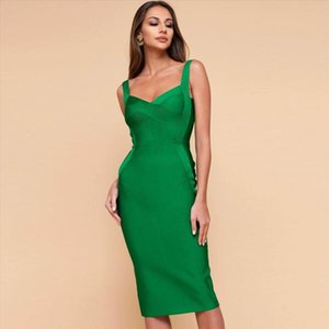 2020 New Bandage Dress Women Sleeveless Sexy Bodycon Celebrity Evening Party Dresses Vestidos Midi Club Summer Dress
