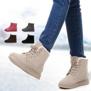 Fashion Winter Women Warm Pelush Boots Casual Color Solid Color Stivali Biege Biege Comfort e Soft