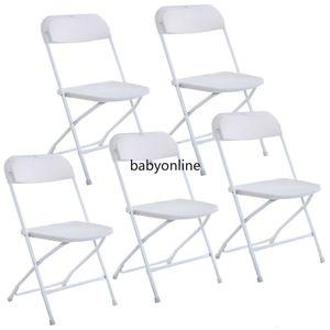 Nouveau ensemble de 5 chaises pliantes en plastique Fête de mariage Chaise d'événement commerciale Chaises blanches pour la maison usage de jardin