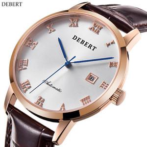 40mm Debert Bianco quadrante sapphire vetro rosa custodia in vera pelle di lusso top marca orologio maschile orologio automatico uomini orologio in pelle cinturino