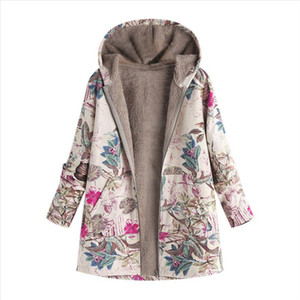 Womens Spring Autumn Jacket Women Female Windbreaker Jacket Plush Coat Outwear Floral Print Hooded Pockets Vintage Coats