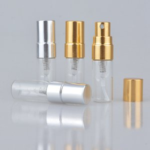 3ML Travel Refillable Glass Perfume Bottle With UV Sprayer Cosmetic Pump Spray Atomizer Silver Black Gold Cap SEA SHIPPING RRE3115