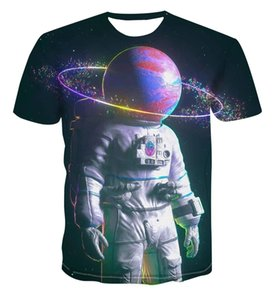 Popular 3D printing space landscape creative design summer color T-shirts for men women are cool and casual, all-match stree Q1126