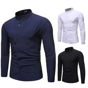 Men's New Style Simple Fashion Pure Long Sleeve Shirt Fashion Comfortable Blouse camisas hombre manga larga W809