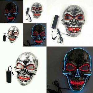 Visage froid crâne halloween masque de purge LED LIP LIGHT Couture Couture de la décoration de danse Partie de danse El Masquerade Masques pour adultes Hommes 18TC WW