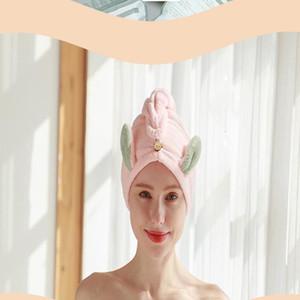 Oreilles Cartoon Bonnet de douche épaissie velours corail Absorbent instantané à sec Superfine Fibre Wrap Turban