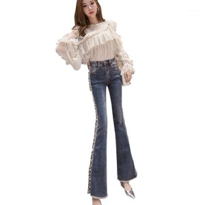 Lyfzous New Seails Jeans Jeans Donne Beaking Jeans Casual Vita Alta Denim Flare Pantaloni Femme Lady Blue Nappes Fashion1