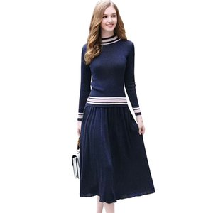 Autumn Streetwear Sweater and Skirt Up and Down Two-Piece European Style Long Sleeve Sweater Dress Autumn Women's Set Sweater 201130