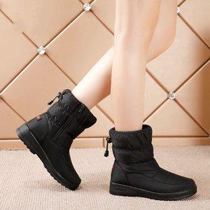 Venta caliente McCkle Botas de invierno Botas de nieve de mediana edad para mujer Zapatos de mujer Cuñas de piel caliente Zapatos de arranque Causura Femme Botines MUJER 2020