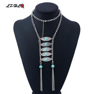 LZHLQ 2020 Fashion Wholesale Necklace Collar Choker Vintage Bohemian Tassel Necklaces Pendants Ethnic Maxi Women Jewelry