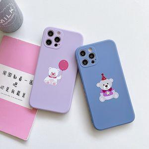 Phone Case For iPhone 12 pro max 12 mini 11 Max X XR Xs 7 8 SE 2020 Cute Bear TPU Cover
