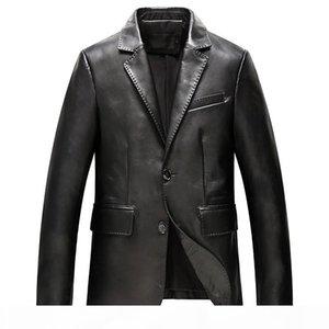 2018 New Mens Genuine Leather Blazer Jacket Plus Size Business Man Suit Sheepskin Coat Jackets Slim Outerwear