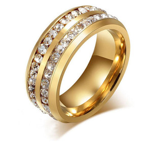 Shiny 316L Titanium Ring Gold Silver Plated Stainless Steel Double Row Czech Crystal Rings for Men Women Wedding Jewelry Size6-13 Wholesale