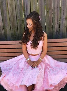Sweety Pink Homecoming Dresses Two Pieces Prom Dresses Hi Lo Lace Appliqued Satin Sweetheart Neck Girls Cocktail Gowns Sweet 16 Dresses