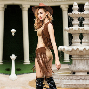 Cowgirl Cosplay Sexy Femmes Movie TV Personnage Coche-Cowboy Rôle Play Costume Ensemble Tassel Hot Dames Party Porter Vêtements