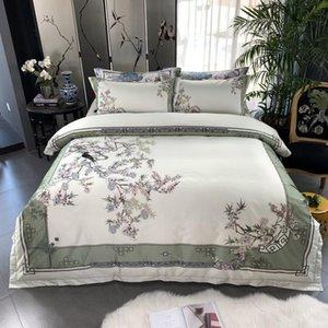 Birds Print Print 800TC египетский хлопок Silky Duver Cover кровать набор роскошных постельных принадлежностей Sequience King Size Кровать простыня набор подушек Shams T200706