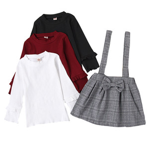 Kids Girls Skirts Sets Solid Colors Tops Lace Long Sleeve Shirts Toddler Baby Lattice Skirts Girls Sling Dresses Kids Casual Outfits 061204