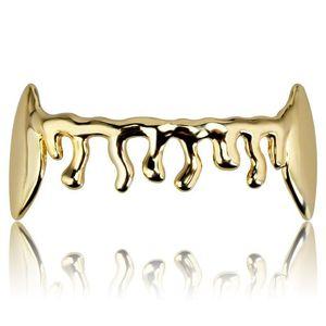 Hip Hop Bottom Dental Grills Fashion 1 Piece Gold Silver Color Hip Hop Vampire Teeth Brace Gold Grillz For Men Women