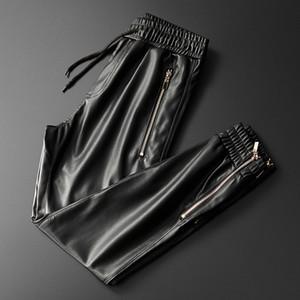 Thoshine Марка Мужские кожаные штаны высшего качества Упругие талии Jogger Брюки Zipper Карманы Кожезаменитель брюки карандаш брюки 201118