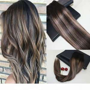 Balayage Color # 2 Rilading to # 27 Omber Hair Treeft Extensions 100% Real Remy Human Hair Hair Weave Slip Straight 8a Grado trama dei capelli