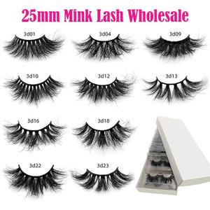 25mm Mink Lash Wholesale 10 20 30 40 50 Pairs Eyelash 3D Mink Eyelashes Fluffy Dramatic Eyelashes Makeup Wispy Lashes In Bulk