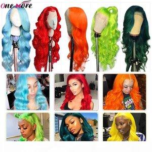 Mais uma escura verde cabelo humano peruca brasileira onda de corpo humano perucas 150% rosa perucas vermelhas laranja dianteira