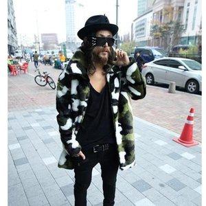 Фур меховые пальто Европы Америка стиль полного рукава поворотный воротник толщиной теплой осень зима мода одежда Male1