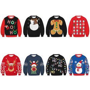 Christmas Long Sleeve Sweater Childrens Snowman Elk Print Woolly Top Winter Warm Kids Pullover Crew Neck 24sl G2