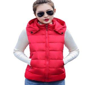Women's Vests ENLU Autumn Winter Vest Women Waistcoat Female Sleeveless Jacket Detachable Hood Warm Long Colete Feminino Plus Size