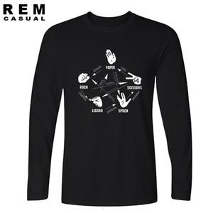 빅뱅 이론 남자 티셔츠 바위 종이 가위 spock 탑 긴 소매 tshirt 1117