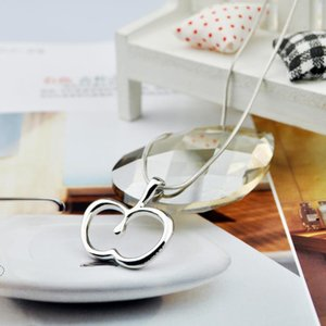 Hollow Outline Funny Simple Geometric Fruit Apple Pendant Chain Necklaces for School Mentor Teacher Women Graduation Gifts