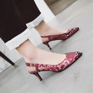 Sexy snake-print new spring and summer high-heeled shoes professional banquet luxury sandal size 48