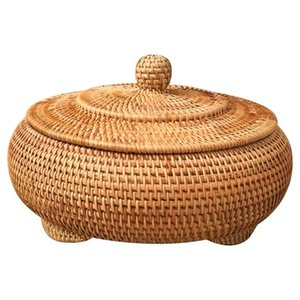 Storage Basket Hand-woven Rattan Woven With Cover Round Primary Color Chinese Jewelry Snacks Tea set Storage Box Household Items Z1123
