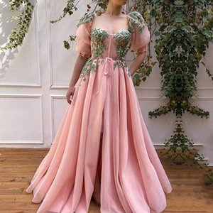 Pink Evening Dresses with Green Appliques A-Line Short Sleeves Long Prom Gowns Custom Made Party Dress for Graduation 20201