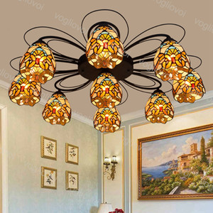 Ceiling lamp 3 7 9 Heads 6 Inch European Retro Multicolor Gass Yellow Baroque Iron 110-240V For Living Dining Room Bedroom Bar DHL