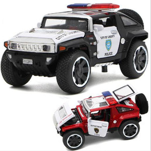 1 32 Scale Hummer Police Diecast Vehicles Model Cars Toys With Openable Doors Pull Back Function Light Music For Boys Gifts Y1130