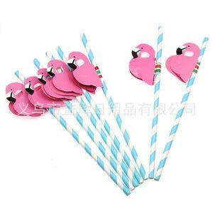 Nuevo diseño 25 unids Flamingo Pajas a rayas Luau Beach Party Tropical Barware Favor Xman Cocktail Fiesta de boda Suministros Decoración Regalo 19 N2
