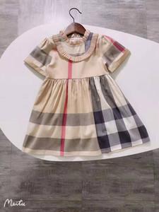 جديد الاطفال ملابس مصمم الفتيات أزياء فساتين الصيف الطفل بنات منقوشة مخطط الوليد الفتيات الصيف اللباس الأطفال الأميرة الطفل اللباس