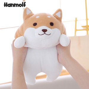 Fatty Shiba Inu Dog Stuffed Doll Squishy Animals Doggy Plush Toy Pink Brown Eyes Open Closed Kids Appeasing Plushie 35 55cm Y1117