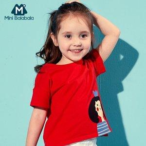 Mini Balabala Girls Weiche Baumwolle Kurzarm T-shirt Kinder Kinder Sommer Top Tees Ribbed CrewNeck Gedruckt Tshirt Baby Mädchen Y200409
