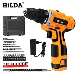 HILDA 16.8V Electric Drill With Rechargeable Lithium Battery Electric Screwdriver Cordless Screwdriver Two-speed Power Tools Y200321