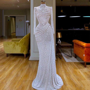 2021 New Glitter Mermaid Prom Dresses Keyhole Sequins Beaded Long Sleeve Sequined Sweep Train Formal Party Gowns Custom Long Evening Dress