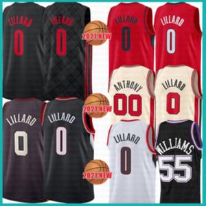 2021 New Damian 0 Lillard basketball jersey CJ 3 McCollum Mens Carmelo 00 Anthony Cheap Jason 55 Williams Mesh Retro DeAaron 5 Fox Green