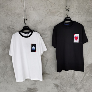Европа весенний летний вышивка покер любовь любовь футболка мода мужчины женщин плеч заклепки с коротким рукавом футболка повседневная хлопковая тройник